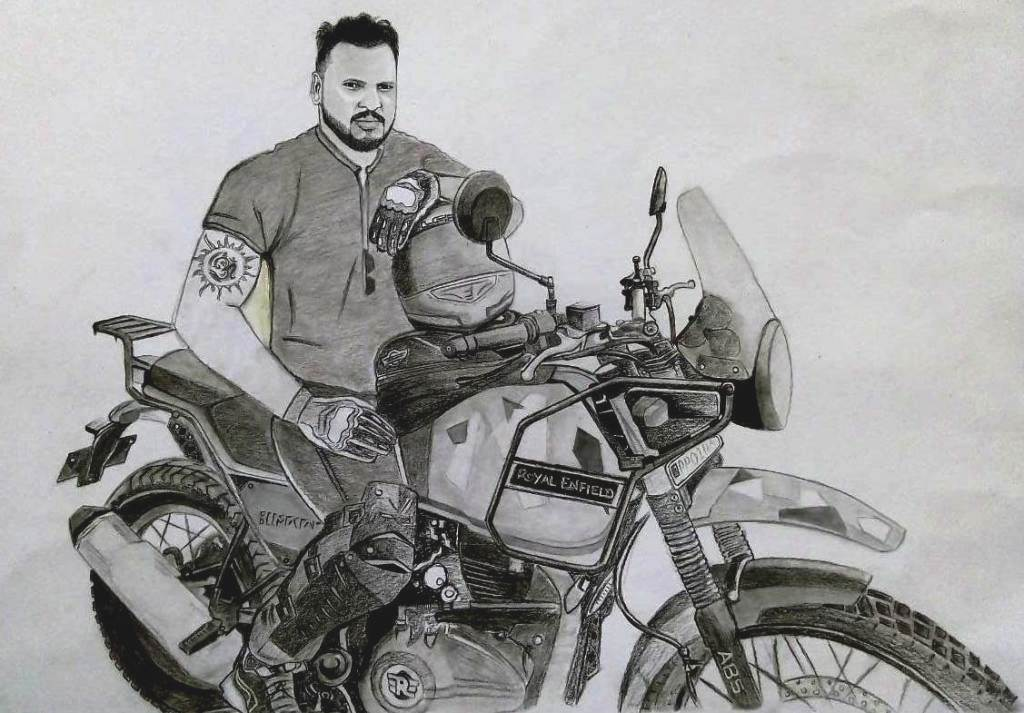 charcoal sketch with bike